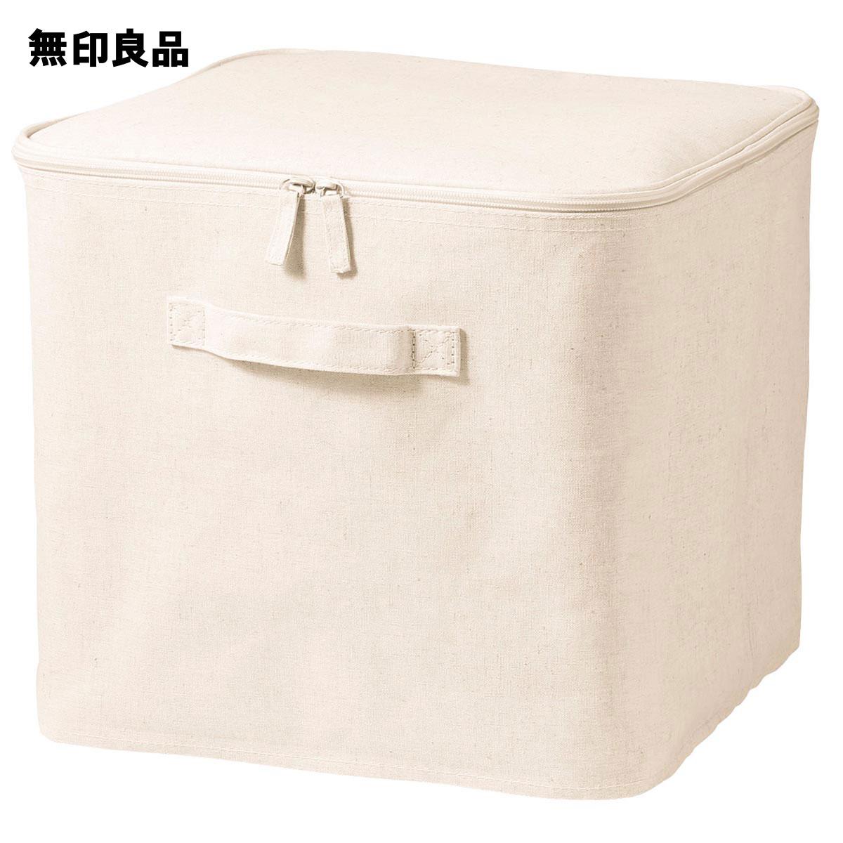 【無印良品 公式】 ポリエステル綿麻混・ソフトボックス・フタ式・Lの写真