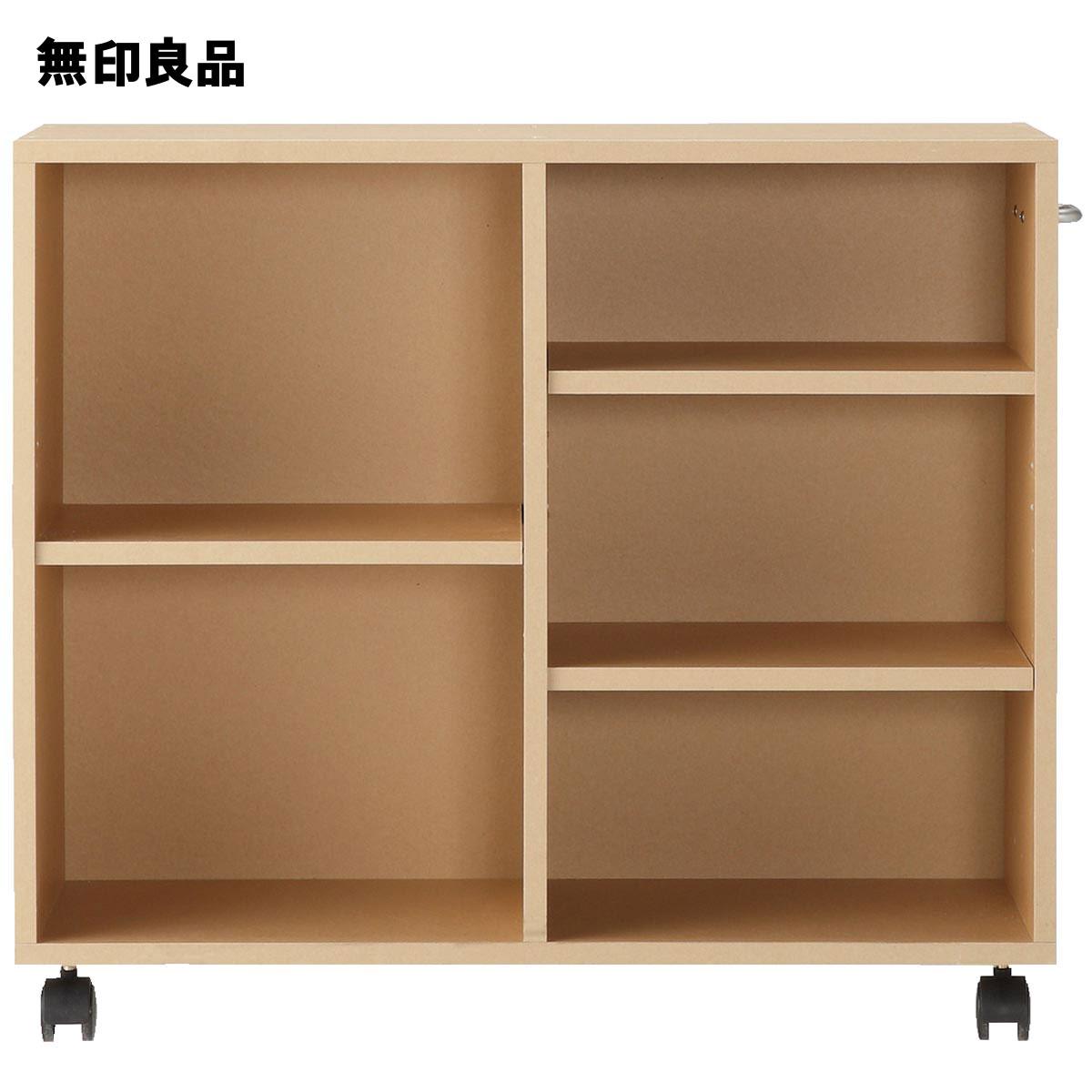 【無印良品 公式】パルプボードボックスキャスター付・ベージュ(タテヨコ仕様)幅76*奥行29*高さ64