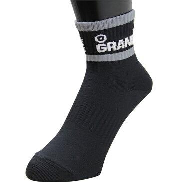 【GRN2017SS】GRANDE 2-LINE ハーフソックス ブラックxグレー【グランデ/サッカー/フットサル/サポーター/靴下】ネコポス対応可能