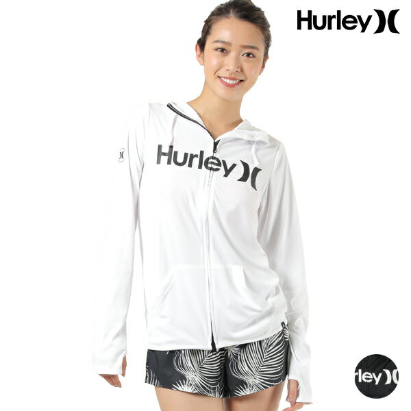 HurleyハーレーラッシュジップオープンフーデッドCU2974レディース長袖ラッシュガードジップアップパーカーUVカットHH1D3