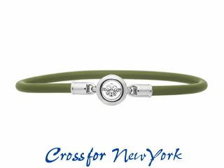 Crossfor NewYork/クロスフォーニューヨーク シリコンブレスレットNSB-001KHRound 【カーキ】 ノンアレルギー 医療用シリコン ブレスレット 男女兼用 ペア ダンシングストーン