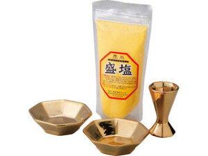 福招き金の八角盛り塩皿セット 色塩付/5295