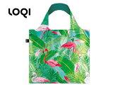 LOQI/ローキー 【4月中旬再入荷予定】 エコバッグ/同柄ポーチ付き■ WILD【フラミンゴ/Flamingos】