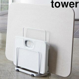 YAMAZAKI/山崎実業 【tower/タワー】珪藻土バスマット&体重計スタンド ホワイト (3139)