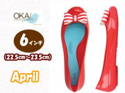 �����٤��ޤ�����C-05249AP-CHR�����ץ���6����22.5cm��23.5cm�ۡ�Cherry/RedWhiteStriped��