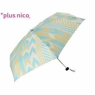 +plus nico/プラスニコ 12242  折りたたみ傘 手開き ジオメトリック 5段 全2色   (グリーン)