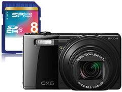 【送料無料】【smtb-u】RICOH/リコー CX6(ブラック)+8GB SDHCメモリーカード セット
