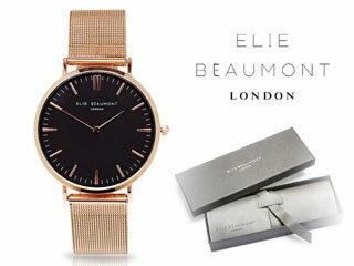 ELIE BEAUMONT/エリー ビューモント EB805LM2 Oxford Small Mesh 腕時計【ブラック/ローズゴールド】