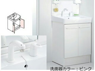 【大型商品の為配送時間指定不可】 LIXIL/リクシル 【INAX】洗面化粧台600mm D7 二枚扉 シングルレバー洗髪シャワー水栓 D7N4-605SY1-W/VP1P:ムラウチ