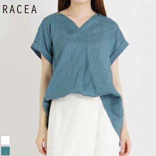 フレンチリネン変形衿タックブラウス(レディース/グリーンブルー/フリーサイズ)