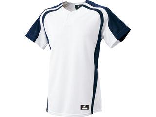 SSK/エスエスケイ BW0906-1070 1ボタンプレゲームシャツ 【M】 (ホワイト×ネイビー)