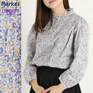 LIBERTY/リバティプリントスタンドフリル衿シャツ(D'anjo/ブルー花柄/Mサイズ)