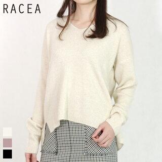 RACEA/ラシアフォックス混Vネックニット(オフホワイト/フリーサイズ)