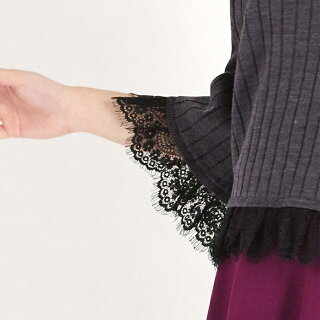 袖・裾レースリブニットプルオーバー(ボトルグリーン/Mサイズ/レディース/七分袖)