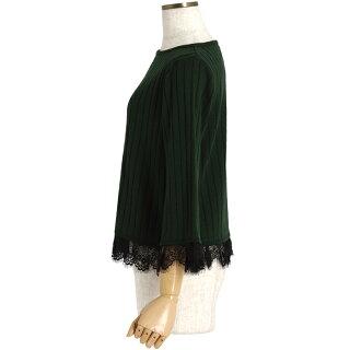 袖・裾レースリブニットプルオーバー(チャコールグレー杢/Mサイズ/レディース/七分袖)