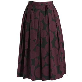 J.Sloane/ジェイスローアンビッグドット柄コットンスカート(ブラック×ワインレッド/Mサイズ/ミモレ丈)