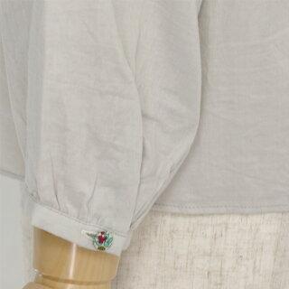 RIBERTY/リバティプリントくるみボタンダブルガーゼ7分袖シャツブラウス(Mサイズ/ネイビー)