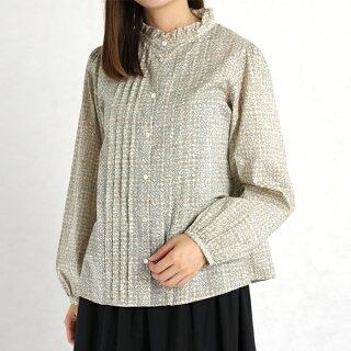 LIBERTY/リバティプリントスタンドフリル衿シャツ(SleepingRose/イエロー花柄/Mサイズ)