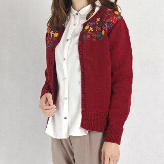SellecciondeEstelle/エステルカラフルお花刺繍ペルーニットカーディガン(オフホワイト/フリーサイズ)