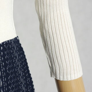 めくれレース柄透かし編み七分袖ニットワンピース春(ホワイト×ネイビー/Mサイズ)