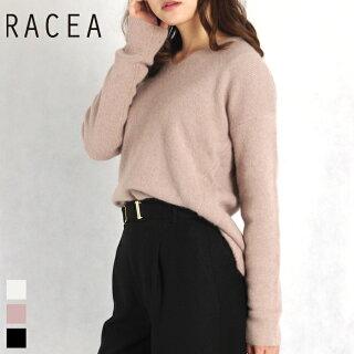 RACEA/ラシアフォックス混Vネックニット(ピンク/フリーサイズ)