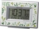 RHYTHM/リズム時計 8RZ174SR05 【フィットウェーブD174】 電波目覚まし時計 ボタニカルデザイン(緑)/温湿度表示/カレンダー 【RPS160324】