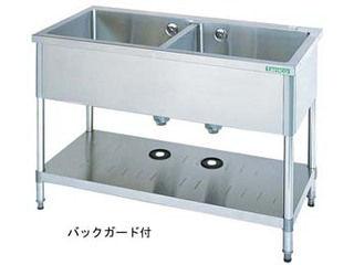 タニコー 【代引不可商品】18−0二槽シンク(バックガード付)/TX−2S−120 沖縄・九州・北海道にはお届けができません。:エムスタ