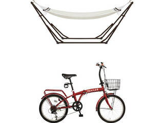 【代引不可商品】20型 折りたたみ自転車&ハンモック ホワイト&レッド  GF−HNJ503R