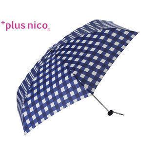 +plus nico/プラスニコ 12221  折りたたみ傘 手開き ギンガム チェック 5段 全2色   (ネイビー)