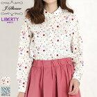 LIBERTY/リバティプリントスカラップカラーシャツ(Martaオフホワイト花柄/Mサイズ)J.sloane/ジェイスローアン