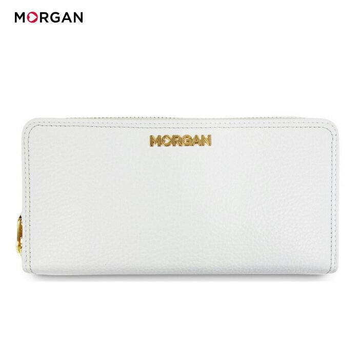 b4cb038865da MORGAN/モルガン MR1003 ラウンドファスナー レザー ロングウォレット メンズ レディース ユニセックス (ホワイト) (MR1003)