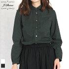 LIBERTY/リバティくるみボタン丸襟シャツ(ブラックドット/Mサイズ)J.sloane/ジェイスローアン