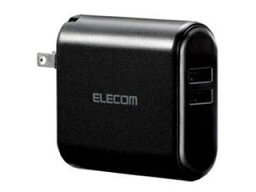 ELECOM/エレコム PSE取得済 AC一体型 容量3350mAh 最大2.4A USB-A×2 DE-AC02-3350BK ブラック