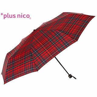 +plus nico/プラスニコ 50502  折りたたみ傘 手開き 先染め タータン チェック 全3色   (レッド)