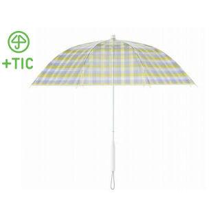 +TIC/プラスチック PT703 長傘 手開き グラフィックライン全5色 オールプラスチック製 張り替え可能 60cm (タータンチェック)