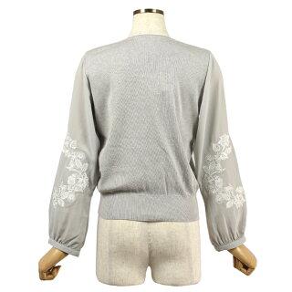 フラワー刺繍長袖トップス(ホワイト/Mサイズ/レディース)