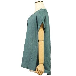 フレンチリネン変形衿タックブラウス(レディース/グリーンブルー/フリーサイズ)RACEA/ラシア