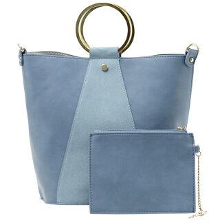 丸金手バケツ型配色Fレザーバッグ(ブルー/2way)FROUFROU/フルフル