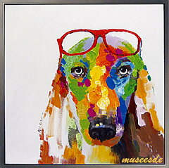 【オイルペイント】犬 絵画ペットの絵 『キャバリアと赤メガネ』サイズL:縦83cm×横83cm×厚さ3.0cm 【額付】【かべ 壁飾り】[ミュゼ・デュ]