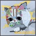 ミュゼ・デユ オイルペイントモダン ファブリック パネルアート ペット 絵画 動物 油彩絵 壁掛け 手書き パネルアート フレームアート 犬 猫 鳥 魚 鹿 猿 熊 蛙 虫 馬 象 兎 豚『いたずら ネコ』フレーム付き ADD051