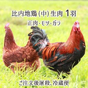 比内地鶏 中型 1羽 生肉(正肉 約1kg・もつ 約150g・ガラ 約500g) 秋田県大仙市産 むね/もも/ささみ/せせり/手羽先/皮/ぼんじり/ハツ/レバー/砂肝/ガラ 送料無料