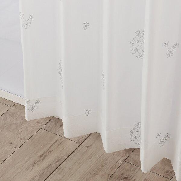 【オーダー・直送】花柄刺繍ボイルカーテン(シルバー・幅100cm×丈200〜218cm・2枚組)