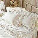 スイートローズレース枕カバー(ホワイト) 姫系 かわいい 可愛い カワイイ 姫系家具 プリンセス 姫インテリア ロマンティック お姫様 おしゃれの写真