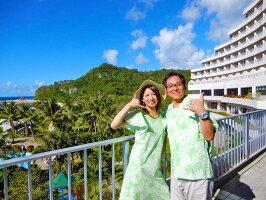 【レンタル】アロハシャツとムームーのセット(各1着)計2着TypeA全12色(ハワイ、グァム、沖縄の結婚式に参列する服装にピッタリ)