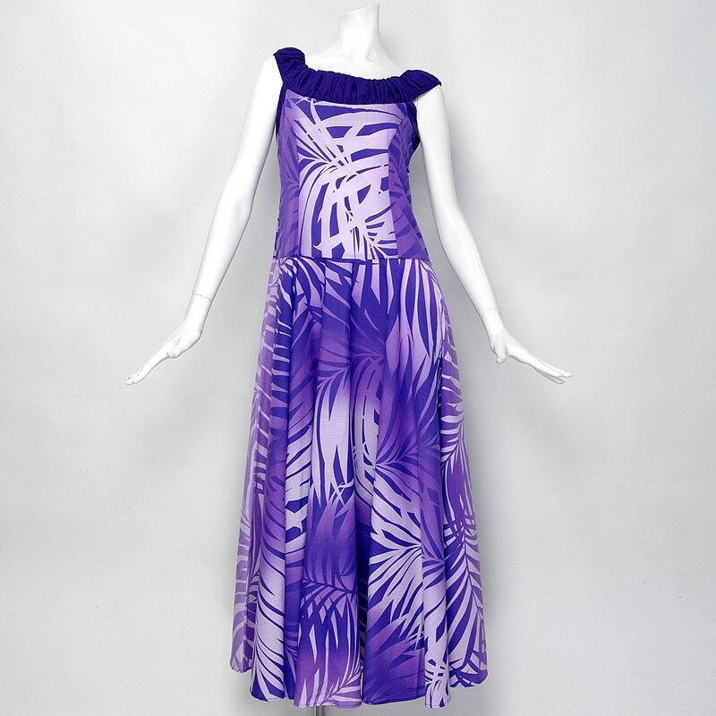 【ムームー/フラダンス衣装】ノースリーブ・フレアドレス【紫〜ラベンダーのグラデーション】 シンプルなシルエットで飽きのこない定番のムームー!