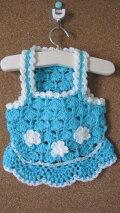 手編みニットのワンピースブルー