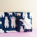 ◆かわいい ティッシュポーチ【白くま ブルー】マスクポーチ日本製 キッズ スクール 学校 安い ギフト ポケットィッシュ ケース 小物プレゼント