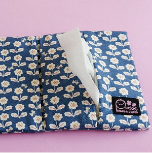 ◆かわいい ティッシュポーチ【ちょうちょとお花/ブルー】マスクポーチ花柄 プチギフト 日本製 キッズ スクール 学校 安い ギフト ポケットティッシュ ケース 小物プレゼント