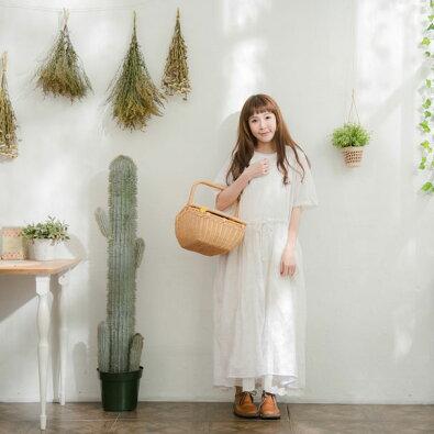 【047003】半袖刺繍レースリネンAラインロングワンピース