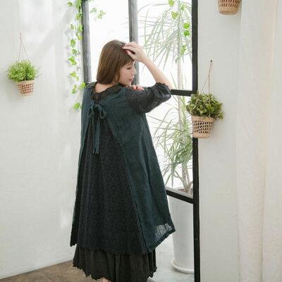 【047018】半袖刺繍レースリネンコットンミディアムワンピース
